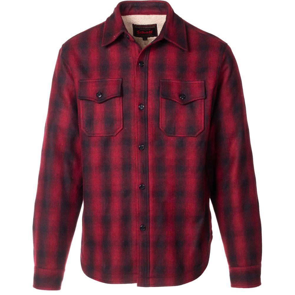 Schott Plaid Wool Blend Faux Sherpa Lined Cpo Shirt Men's