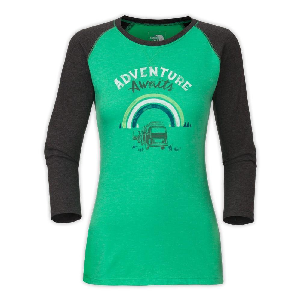 403dba7b235a9 The North Face 3 4-Sleeve Adventure Awaits Tee Women s Blarney Green  Heather ...