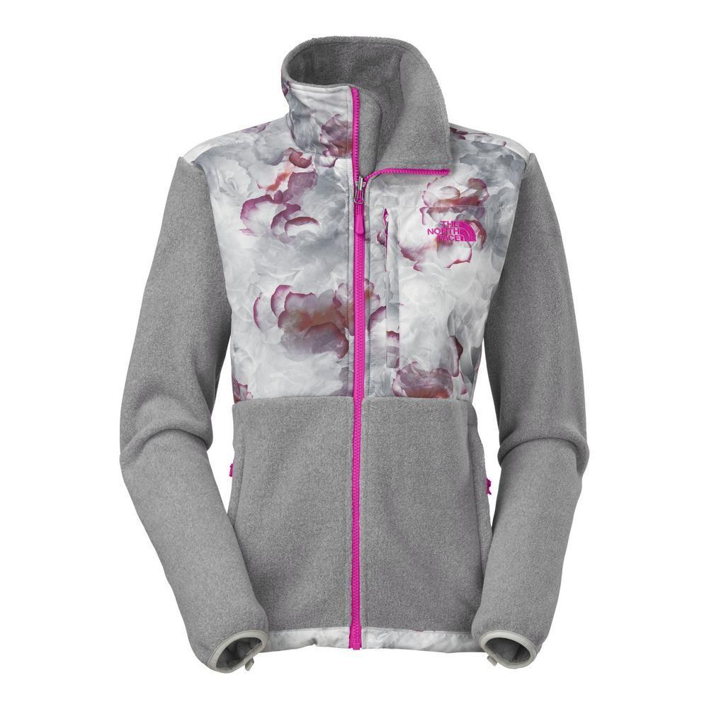 3ce716a67392 The North Face Denali Jacket Women s R High Rise Grey Heather Fuschia Pink  Cloud Print