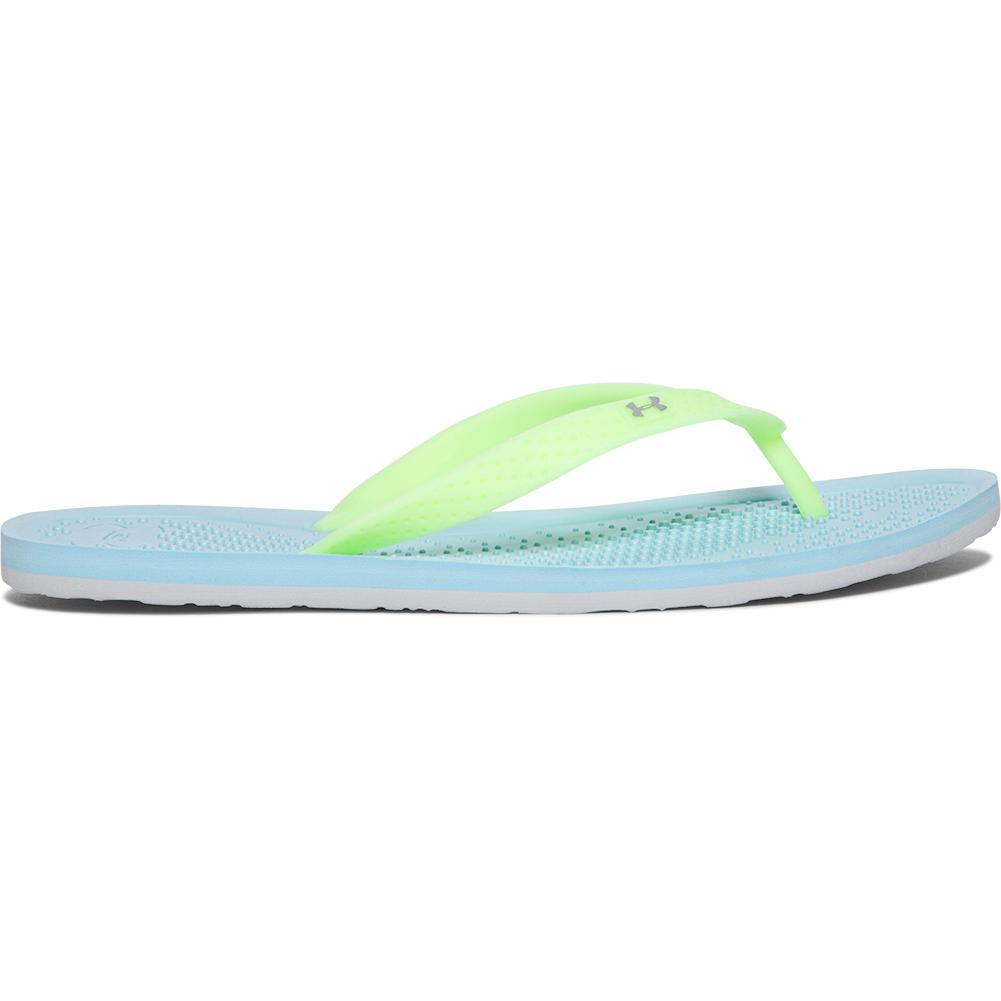 7999e0fefa9 Under Armour UA Atlantic Dune Flip Flops Women s Opal Blue Lime  Fizz Mineral Gray