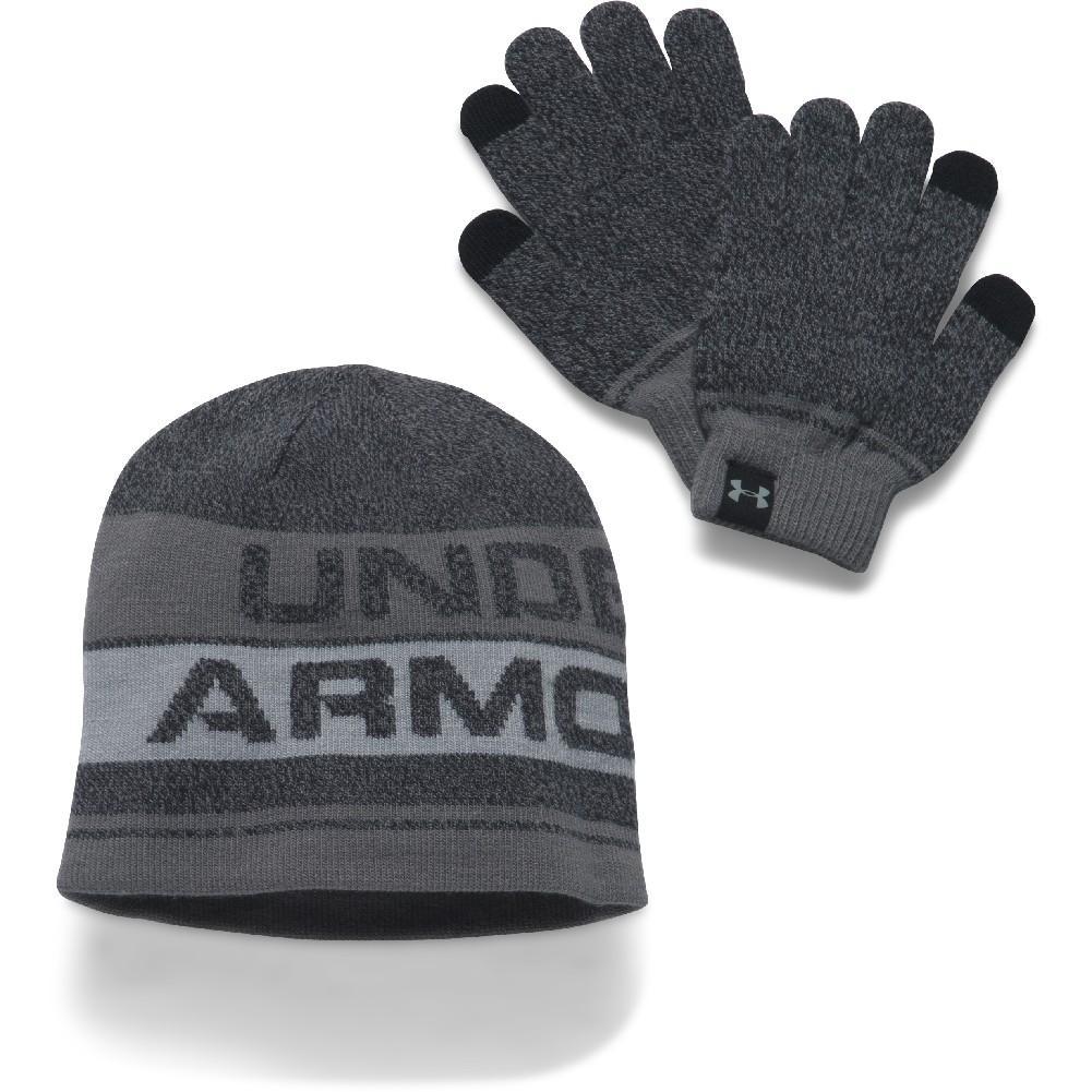 426a0ddd911 Under Armour Beanie Glove Combo 2.0 Boys  BLACK STEEL OVERCAST GRAY