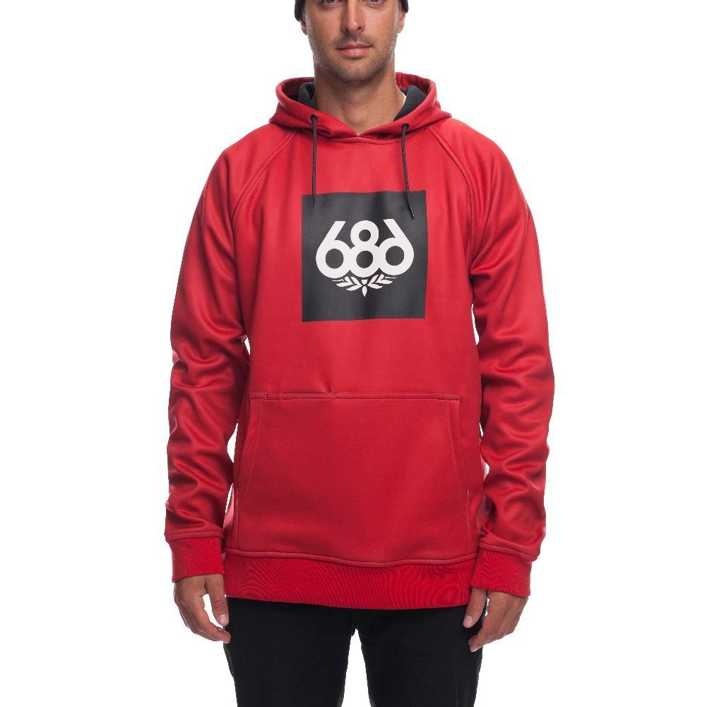 686 Mens Knockout Bonded Fleece Ski Snowboard Pullover Red