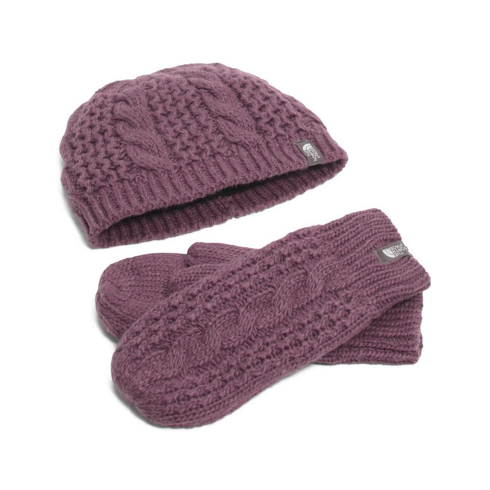 The North Face Cable Minna Collection Beanie Mittens Women s Sugilite  Purple ... abeaebabb1