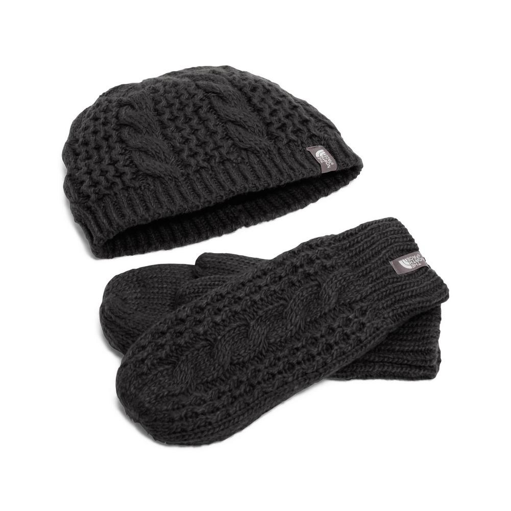 The North Face Cable Minna Collection Beanie Mittens Women s TNF Black ee10a64dd2c