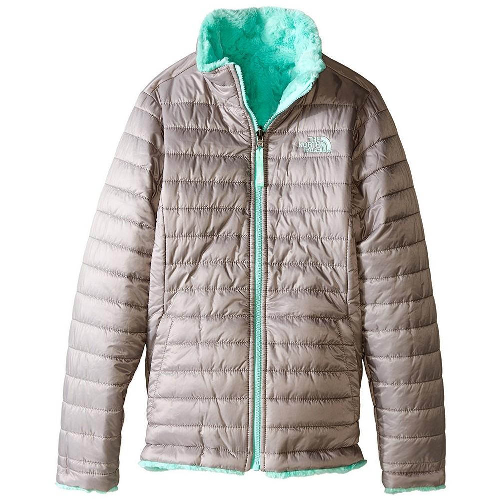 0a27f20cc16a The North Face Reversible Mossbud Swirl Jacket Girls  Metallic Silver
