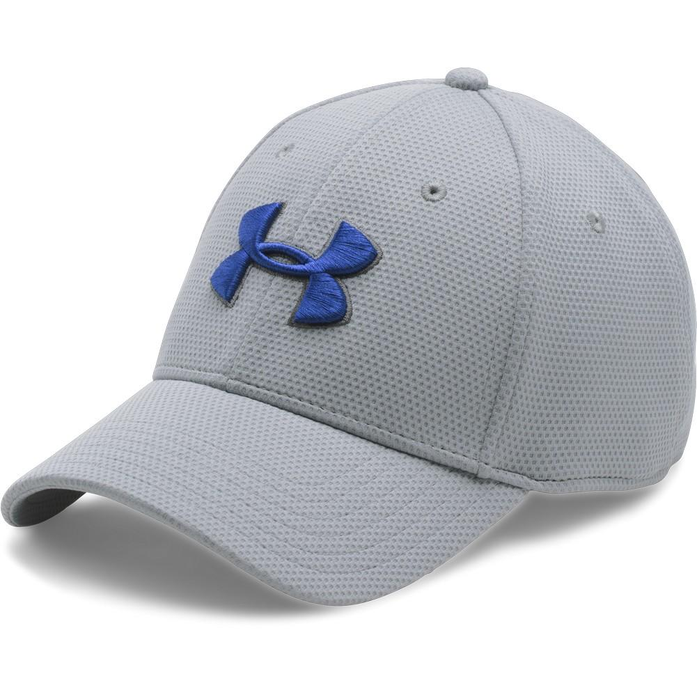 Under Armour Blitzing II Stretch Fit Cap Men s Overcast Gray Graphite Royal  ... 1621a563439