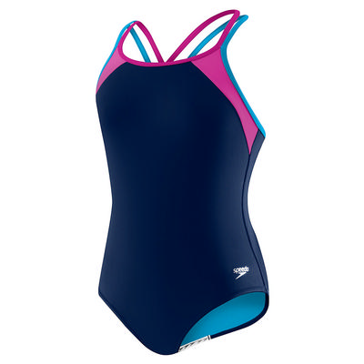 Speedo Solid Splice Crossback One Piece Swimsuit Girl's