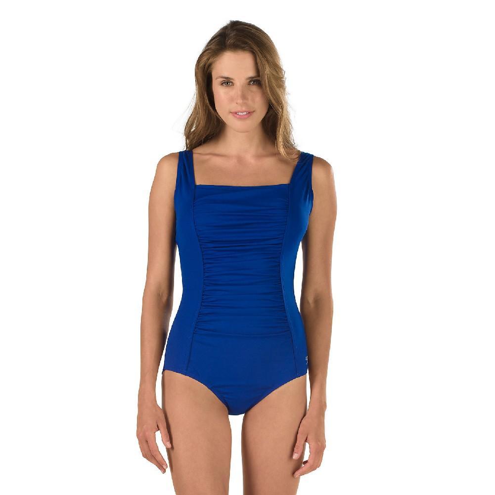 SPEEDO Endurance Shirred Tank Atlantic Blue 1 pc Swim Suit Womens Sz 6 10 12 16