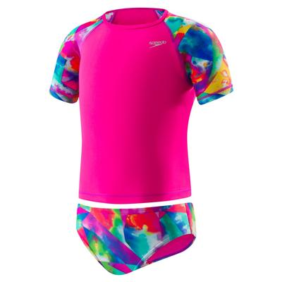 Speedo Printed Two Piece Short Sleeve Set 4-6X Rashguard Girl's