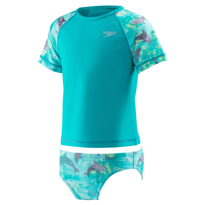 Speedo Printed Rashguard 2Pc Girls'