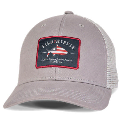 Fish Hippie Patriotic Trucker Cap Men's