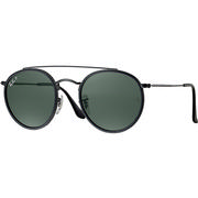 Ray Ban Round Double Bridge Sunglasses BLACK/POLARIZED GREEN