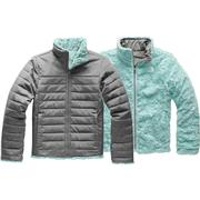 The North Face Reversible Mossbud Swirl Jacket Girls' TNF MEDIUM GREY HEATHER/WINDMILL BLUE