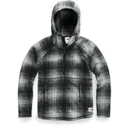 The North Face Printed Crescent Hooded Pullover Sweater Fleece Women's HIGH RISE GREY OMBRE PLAID SMALL PRINT