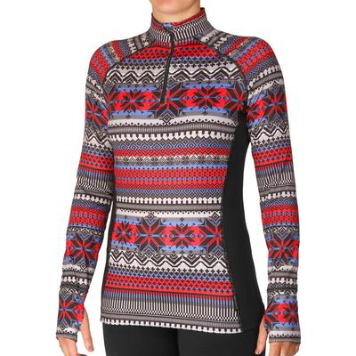 Hot Chillys Micro Elite Chamois Print Zip-T Baselayer Top Women's