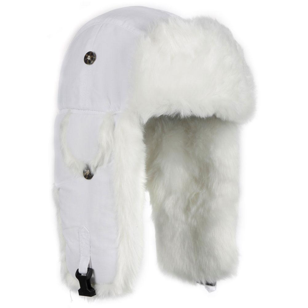Mad Bomber Wabbit White Faux Fur Bomber Hat