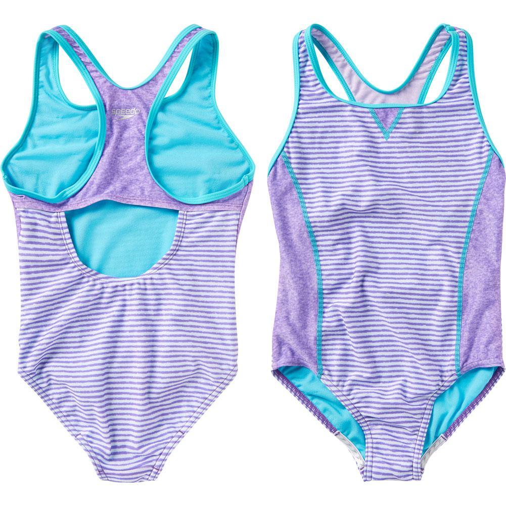 Speedo Print Blocked One Piece Swim Suit Girls '