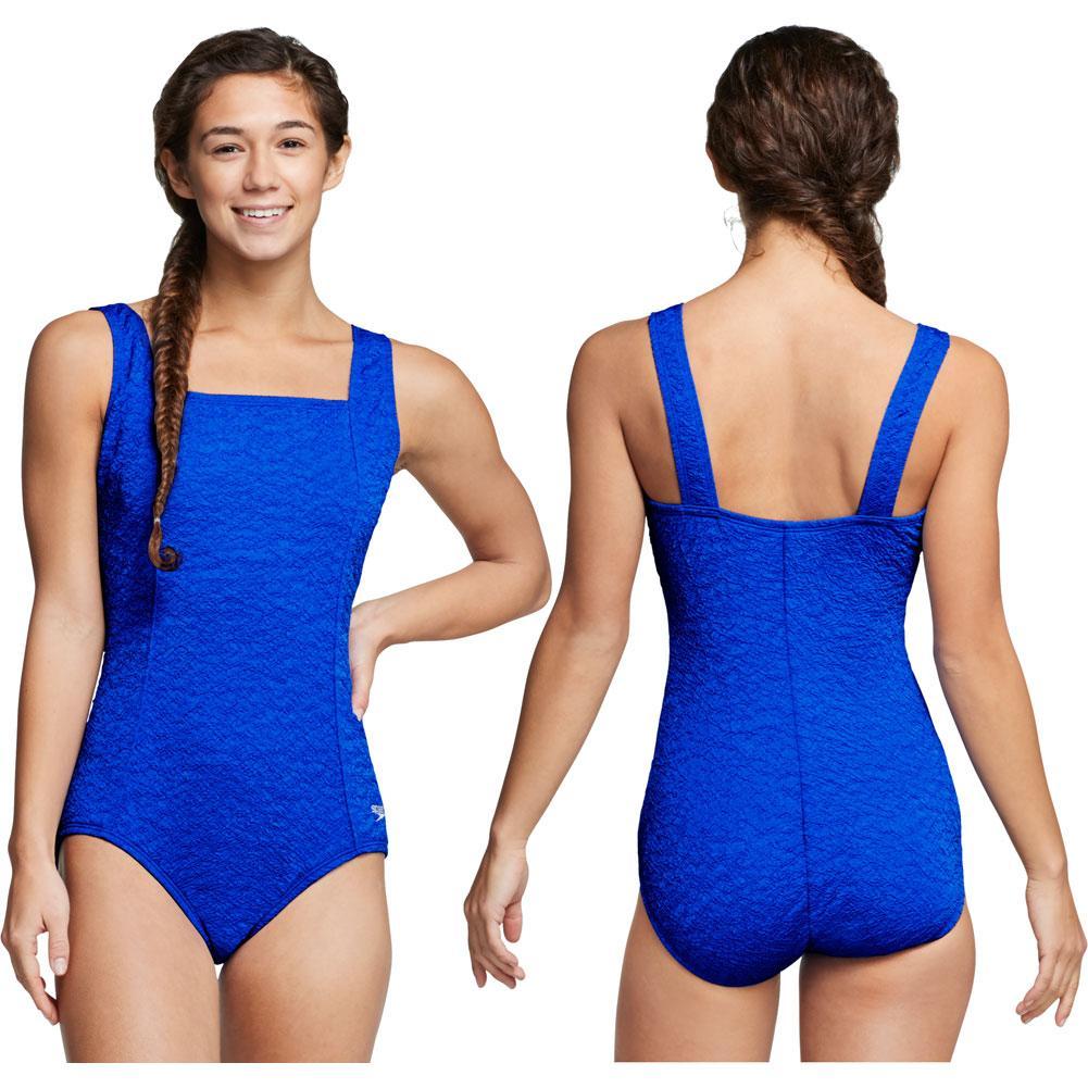 Speedo Pebble Texture Square Neck One Piece Swim Suit Women's