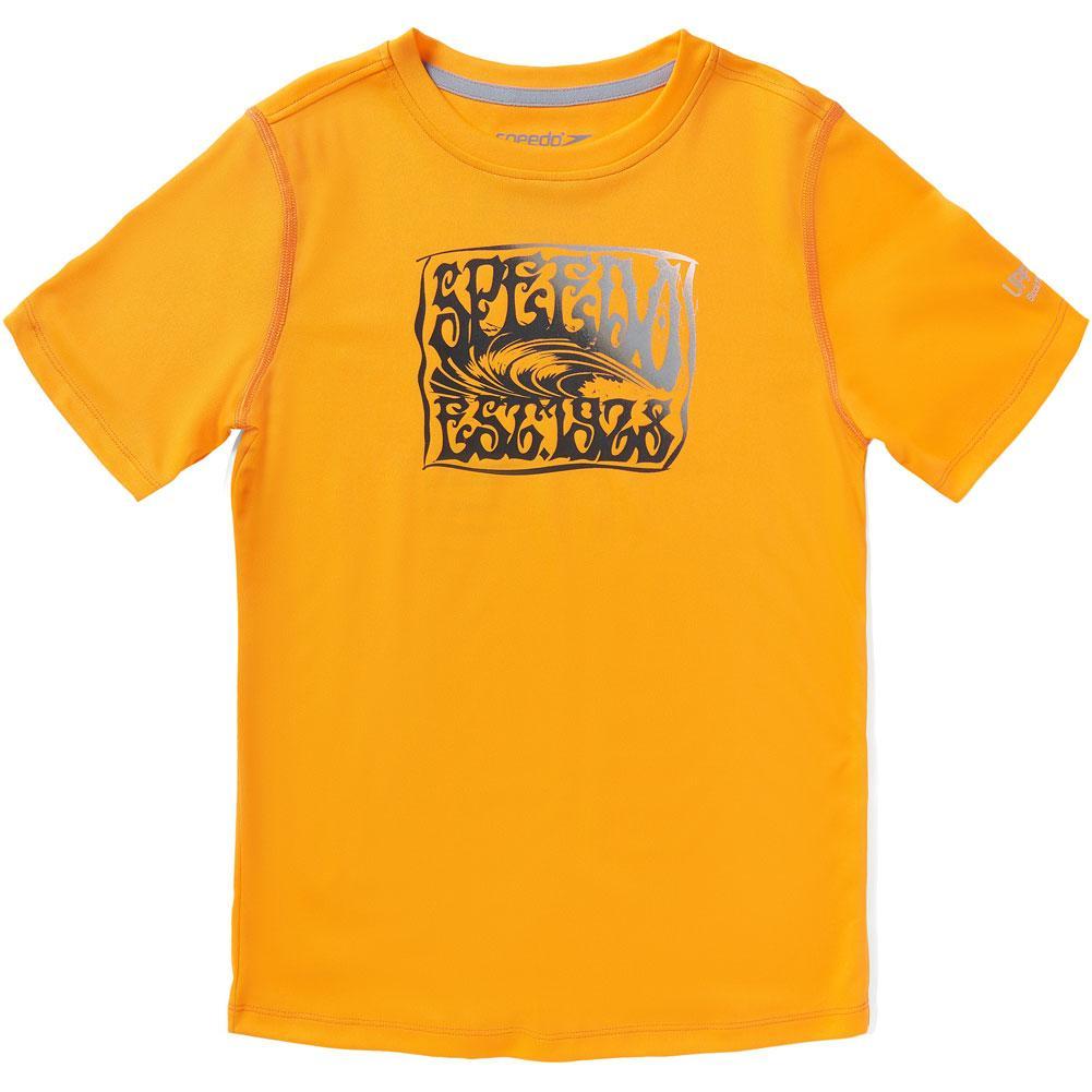 Speedo Short Sleeve Graphic Swim Shirt (Waves) Boys '