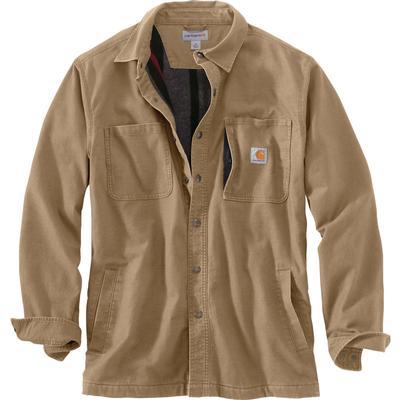 Carhartt Rugged Flex Relaxed Fit Canvas Fleece-Lined Snap-Front Shirt Jacket Men's