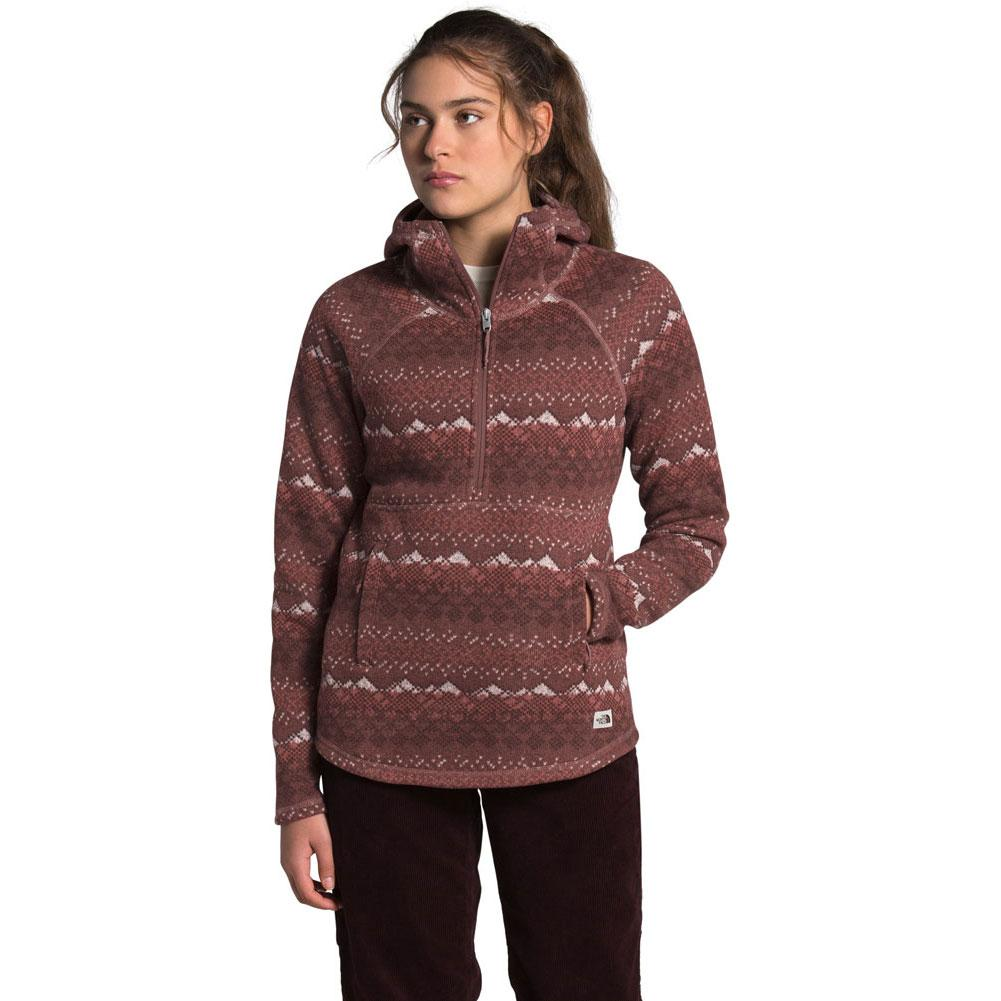 The North Face Printed Crescent Hooded Pullover Fleece Top Women's
