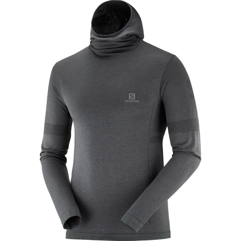 Salomon Outspeed Wool Long Sleeve Hooded T- Shirt Men's