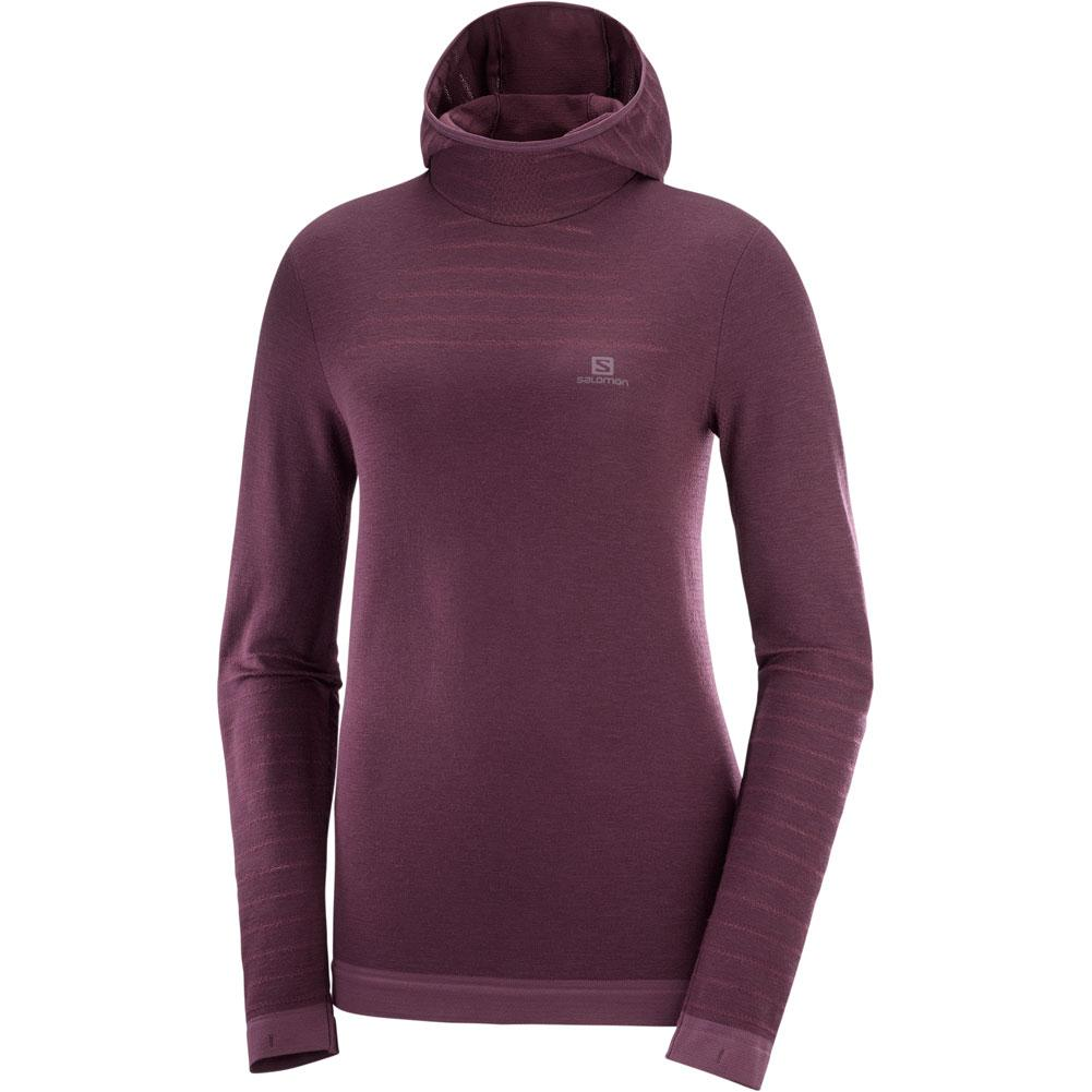 Salomon Outspeed Wool Long Sleeve Hooded T- Shirt Women's